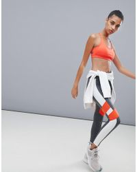 Reebok Training Colourblock Leggings In Grey And Red