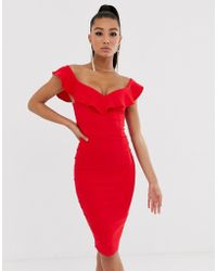 Vesper Bodycon Dress With Sweetheart Neckline With Frill In Red