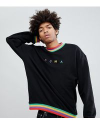 PUMA - Organic Cotton Sweat With Small Logo In Black Exclusive To Asos - Lyst