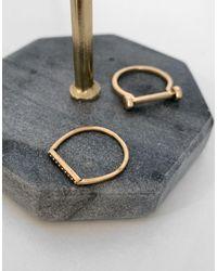 AllSaints Stackable Crystal Rings - Metallic