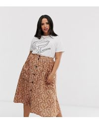 d0ea79be20 ASOS Asos Design Tall Mixed Ditsy Floral Wrap Midi Skirt With Lace Trim -  Lyst