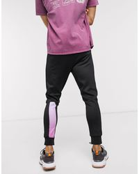 Religion Skinny Fit Polycot jogger With Colour Fade Leg Taping - Multicolour