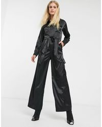 Monki Satin Utility Jumpsuit - Black