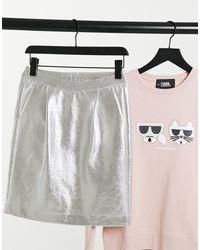 Karl Lagerfeld Minifalda plateada - Metálico