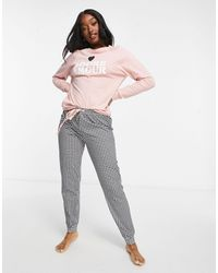 Women'secret Adore Amour Slogan Gingham Pyjama Set - Pink