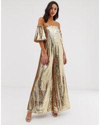 ASOS Gold Sequin Off Shoulder Jumpsuit - Metallic
