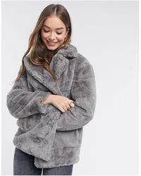 New Look – mantel aus kunstpelz - Grau