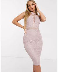 AX Paris Светло-розовое Кружевное Платье Миди С Глубоким Вырезом И Вставкой -бежевый - Естественный