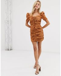 Glamorous Присборенное Платье С Завязкой -коричневый