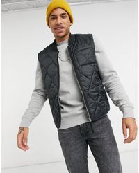 River Island Quilted Gilet - Black