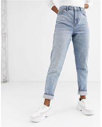 TOPSHOP Mom jeans lavaggio candeggiato - Blu