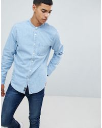 Abercrombie & Fitch - Banded Collar Denim Shirt In Light Wash - Lyst
