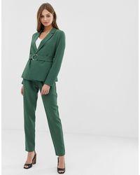 Vila Belted Paperbag Waist Tapered Trouser - Green