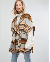 Suncoo - Wrap Stripe Coat With Belt - Lyst