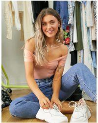 Miss Selfridge Bardot Bodysuit - Pink