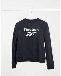 Reebok Черный Свитшот С Большим Логотипом