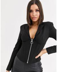 ASOS Corset Blazer With Boning-black