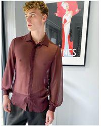 ASOS Прозрачная Рубашка Стандартного Кроя С Объемным Рукавом В Вишневом Цвете - Красный