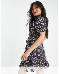 River Island Floral Belted Wrap Mini Dress - Blue