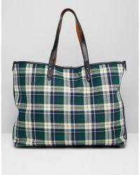 Warehouse Shopper Bag In Green Tartan Check