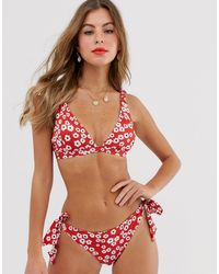 Jack Wills Parton Bikini Top - Red