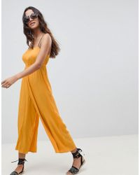 95f534c2745f Lyst - ASOS Pinny Jumpsuit In Crinkle In Floral Spot Print