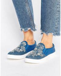 Glamorous Embellished Denim Slip On Plimsolls - Blue