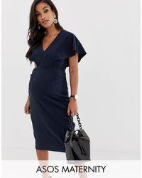 ASOS Asos Design Maternity Angel Sleeve Midi Pencil Dress - Blue