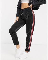 Brave Soul joggers With Side Stripe - Black