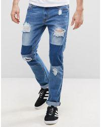 Liquor N Poker - Patchwork Slim Jeans - Lyst