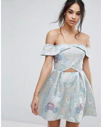 Missguided - Brocade Off The Shoulder Skater Dress - Lyst