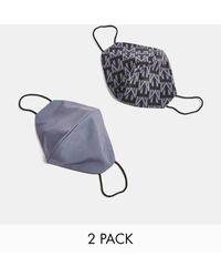 TOPMAN 2 Pack Monogram Print Fashion Face Covering Charcoal Grey - Multicolour