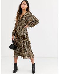 River Island Leopard Print Midi Dress - Multicolor