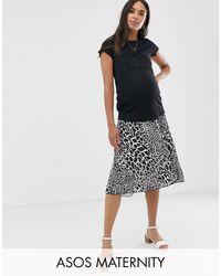 ASOS Asos Design Maternity Under The Bump Pleated Midi Skirt - Multicolour