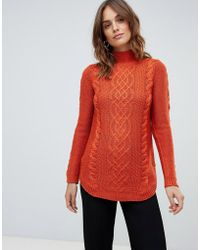 Oasis - Cable Knit Jumper In Red - Lyst
