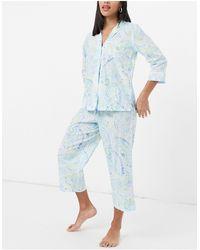 Lauren by Ralph Lauren Woven Notch Collar Capri Pyjamas - Blue