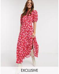 Ghost Exclusive Luella Floral Print Midi Dress - Pink