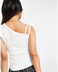 Mango Asymetric Strappy Vest - White