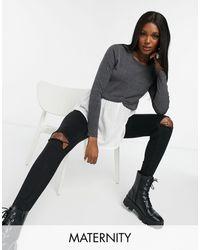 New Look Серый Джемпер «два В Одном» С Имитацией Рубашки