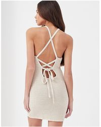 4th & Reckless Everly Crochet Tie Back Beach Mini Dress Co-ord - Multicolor