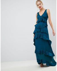 Y.A.S Ruffle Tiered Maxi Dress - Blue