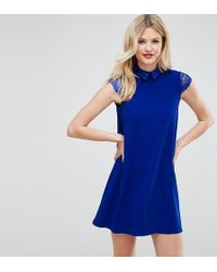 ASOS - Smock Dress With Pleats And Lace Details - Lyst