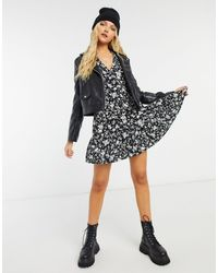 New Look Черное Свободное Платье Мини С Пуговицами Спереди И Цветочным Принтом -черный
