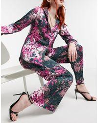 Never Fully Dressed Pantalon large décontracté en satin à imprimé fleuri (pièce d'ensemble) - Multicolore