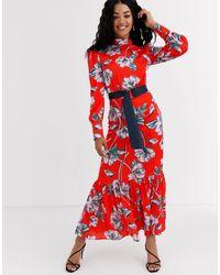 Liquorish Платье Макси В Викторианском Стиле С Цветочным Принтом И Оборками -красный