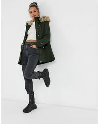New Look Parka With Faux Fur Hood - Green