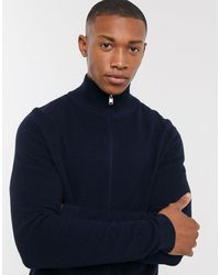 SELECTED - Organic Cotton Ribbed Knitted Zip Through Cardigan - Lyst