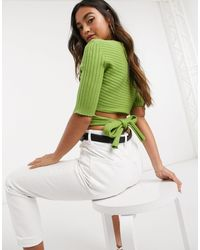 NA-KD Tie Back Mid Sleeve Tee - Green