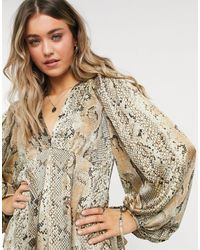 Object V Neck Blouse With Volume Sleeve - Multicolour