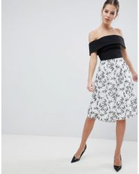 Vesper - 2-in-1 Printed Skater Dress - Lyst
